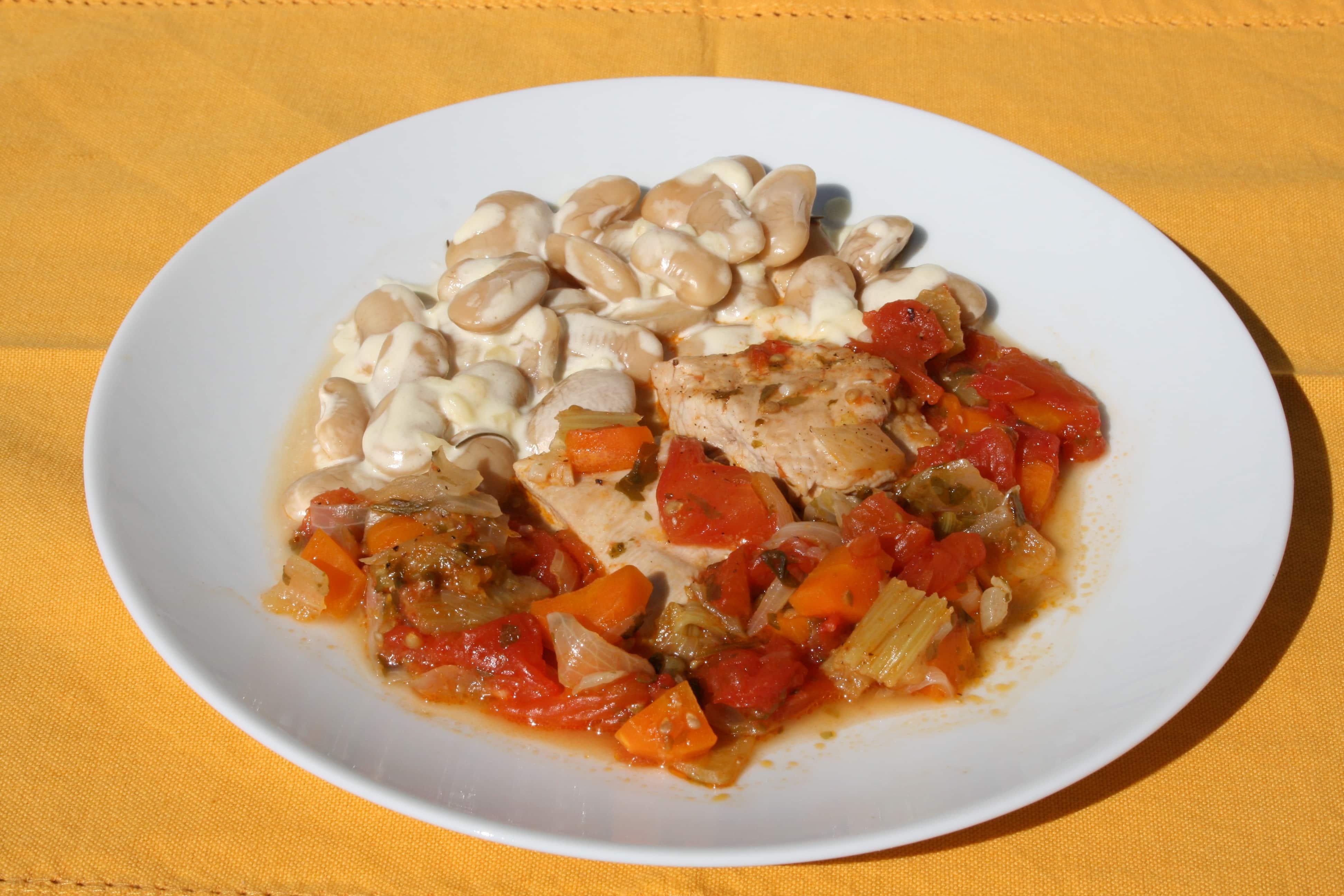assiete de blanc de volaille, haricots de Soissons et maroilles
